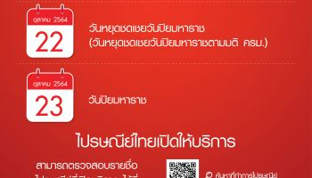 ไปรษณีย์ไทยเปิดให้บริการตามปกติในวันหยุดประจำเดือนตุลาคม 2564