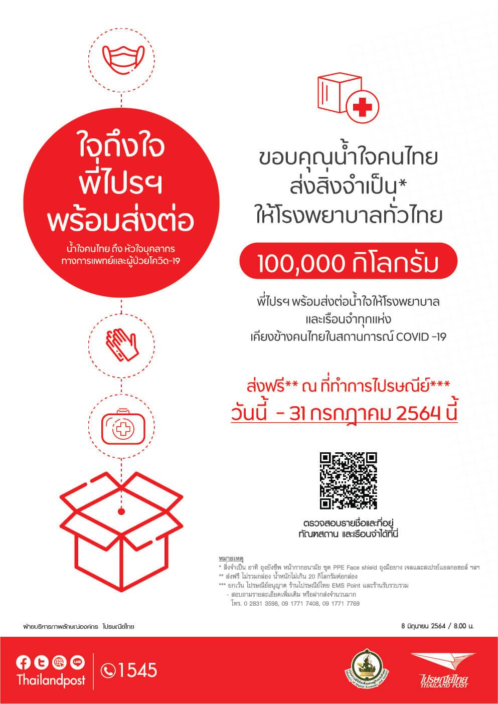 ไปรษณีย์ไทยขยายปลายทาง ส่งความห่วงใยช่วย COVID-19 ถึงเรือนจำทั่วประเทศ ฟรี!