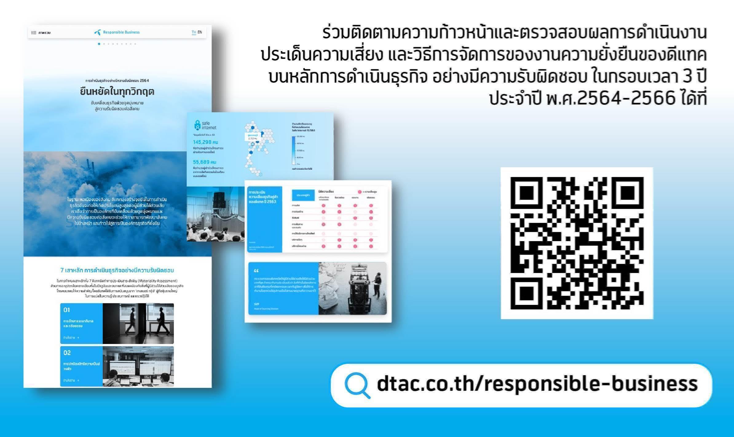 ดีแทคประกาศแผนการดำเนินงานด้านความยั่งยืน (dtac Responsible Business Framework) ประจำปี พ.ศ. 2564-2566